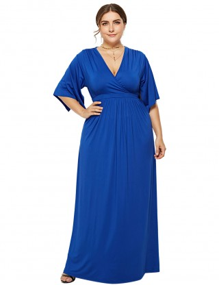 Flattering Sapphire Blue Large Size Maxi Size Short Sleeves Regular Fit