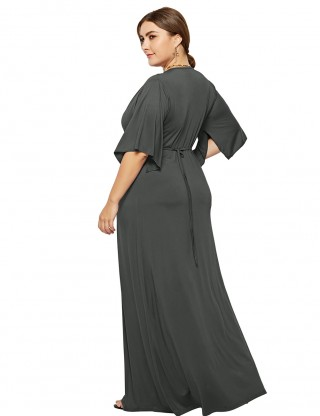 Retro Dark Grey Plus Size Maxi Size Deep V Collar Feminine Charm