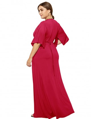 Absorbing Red Defined Waist Plain Maxi Dress Queen Size For Camping