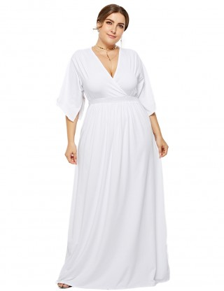 Elaborate White High-Waisted Maxi Dresses Large Size Distinctive Look