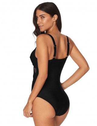 Super Black Plunging Neck One Piece Swimsuit Padded At Great Prices‎