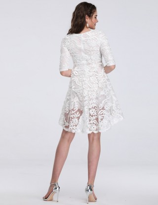Extra Sexy White Lace Hollow High Low Dress Half Sleeves Online Wholesale
