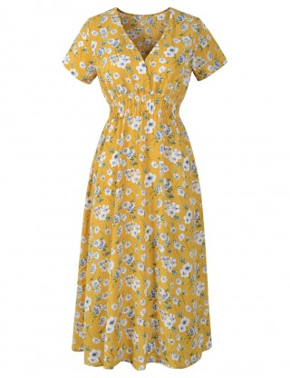 Dainty Yellow Deep V-Neck Midi Dress Flower Pattern Outfits