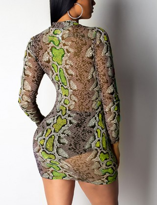 Elegance Green Snake Print Bodycon Dress Round Collar For Every Occasion