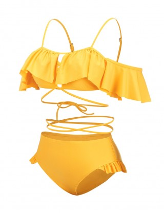 Perfectly Yellow Strappy Frill Mom Girl Bikini Off Shoulder High Quality