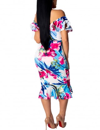 Extraordinary Off Shoulder Bodycon Dress Floral Print