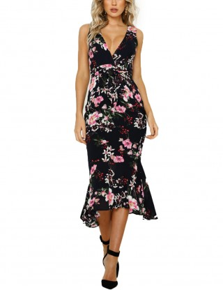 Knot Package Hip Black Ruffled Dress Flower Print High Quality