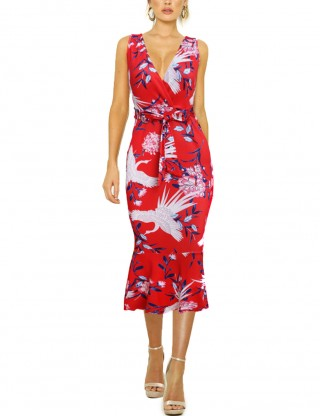 Cheap Red Wrap Tight Sleeveless Dress Floral Pattern Comfort