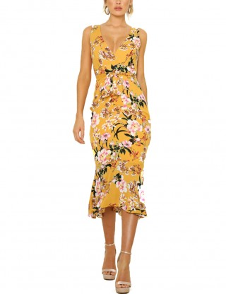 Tantalizing Flower Ruffles Yellow Bodycon Dress Plunging Neck