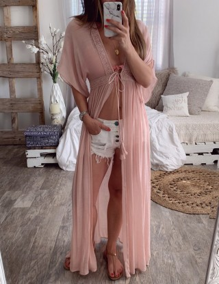 Lace Detail Pink Maxi Length Dress Swimwear For Women