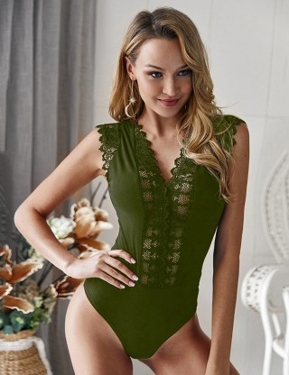 Flirting Army Green V Collar Bodysuit Scallop Lace Splice Weekend Time