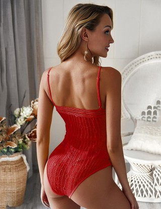 Red Plunging Collar Bodysuit  Lace Thin Straps Classic Fashion