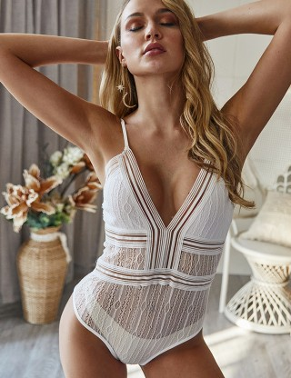 Sparkling White Adjustable Straps Bodysuit Perspective Lace Women