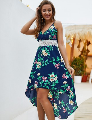 Cut Out Printed Sapphire Blue Dress Spaghetti Straps Online Fashion