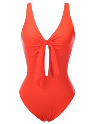 Orange Open Back Ruched 1 Piece Swimsuit Knot Fashion Trend