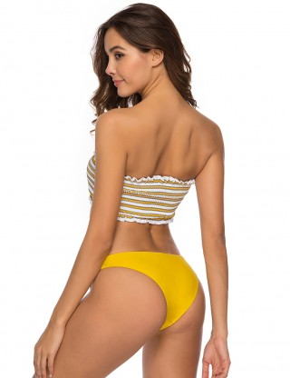 Unique Triangle Bottom Ruched Bathing Suit Bandeau Comfort Women