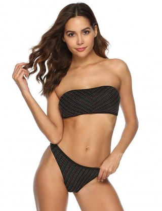 Most Comfortable Black Metallic Yarn Bandeau Two-Piece Beachwear