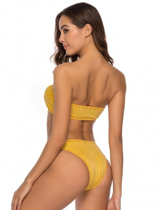 Natural Yellow Strapless Removable Pad Swimwear Metallic Yarn Comfort