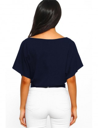 Nautically Navy Blue Waist Slim Bodysuit Mini Bottom