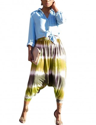 Yellow Print Beam Leg Hippie Harem Pants Forward Women