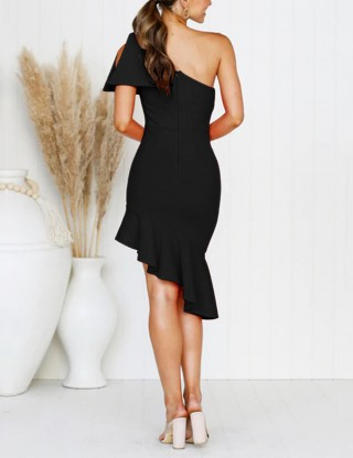 Surprising Black Mermaid Open Shoulder Dress Bodycon Vacation Time