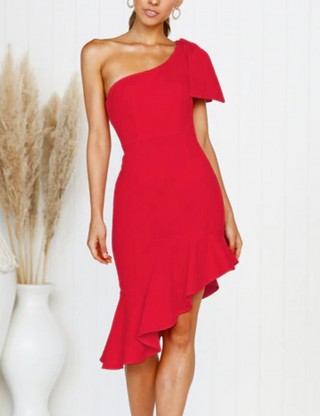 Well-Suited Red Irregular Hem Mermaid Dress Bow-Knot Home Dress