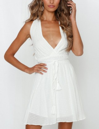 Charming White Halter Waist Tie Dress Back Cross Strap Women Outfit