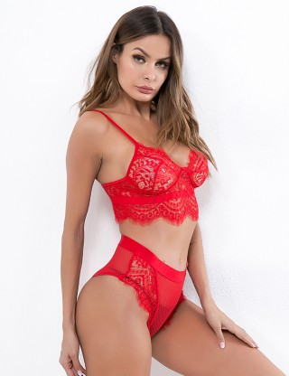 Dazzling Red Lace Grid Open Waist Bralette Set Hollow Super Sexy