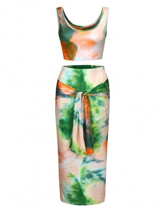 Edgy Green Sleeveless Roune Neck Maxi Skirt Set Print Woman