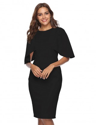 Supper Fashion Black Round Neck Bodycon Dress Flounce Sleeve