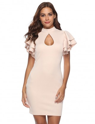 Good-Looking V-Neck Ruffle Sleeve Bodycon Dress For Streetshots