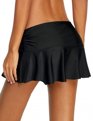 Noticeable Black Front Slit Drawstring Swim Skirt Queen Size Girls