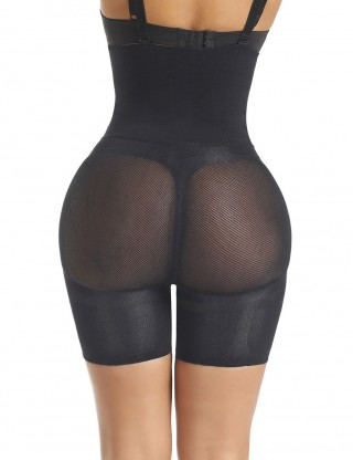 Enthralling Black High Waist Short Butt Lifter Double Layers Slimmer