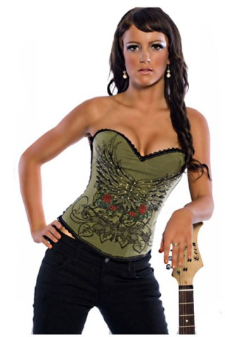 Green Sexy Overbust Corset with Pattern
