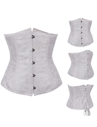 White Embroidered Underbust Corset