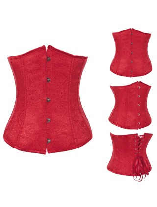 Red Embroidered Underbust Corset