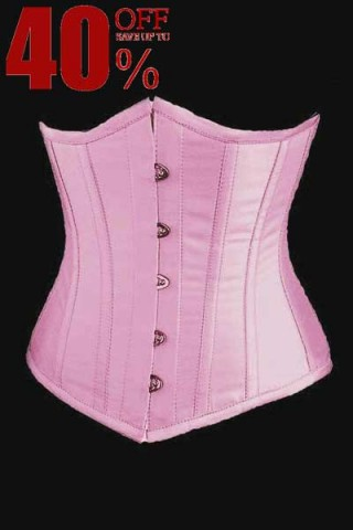 Pink Faux Leather Underbust Corset