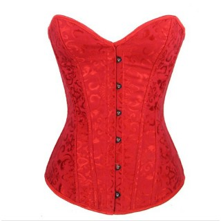 Red Lace Up Overbust Corset
