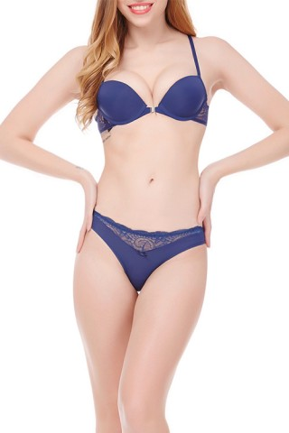 Vamp Blue Designer Bra Panty Set Underwire Adjusted Straps