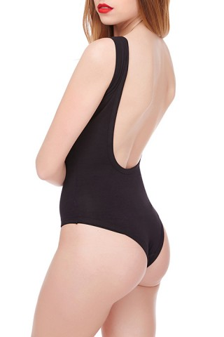 Compression Backless Black Bodysuit Top Seam Free