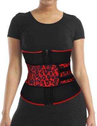 Captivating Leopard 7 Steel Boned Latex Waist Trainer Big Size