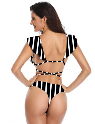 Sultry Stripes V Neck Strappy High Cut Bikini Womens Fashion Shopping