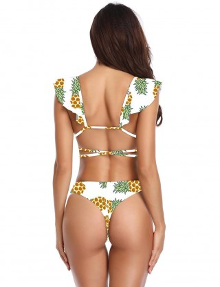 Wonderful Flounce Pineapple Print Bikini Strappy Soft