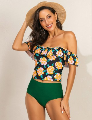Open Shoulder Ruffles Tankini Floral Backless Distinctive Look