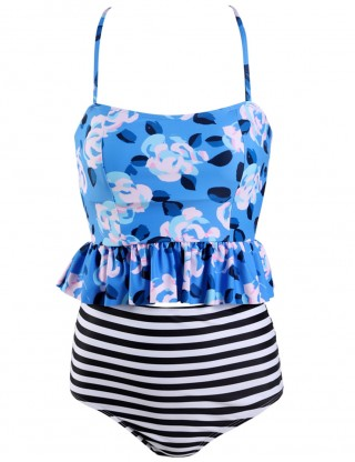 Big Bust Ruffle Stripes Open Back Tankini Slender Straps Sexy Ladies