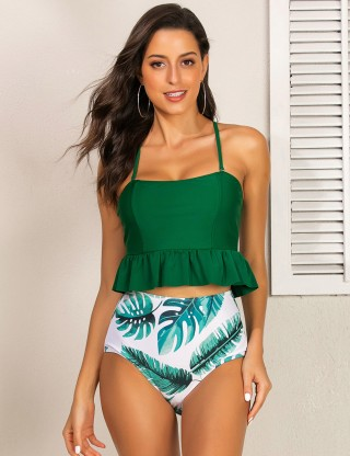 Airy Leaf Print Criss Cross Tankini High Rise For Poolside Days