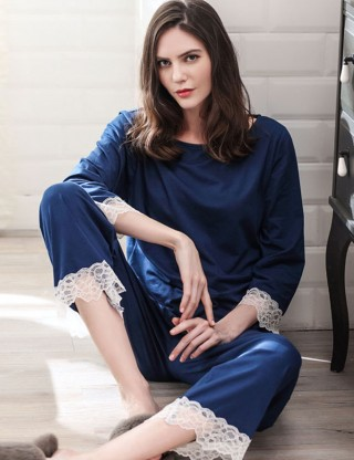 Executive Tease Lace Patchwork Sapphire Blue Long Sleeve Pajamas Set Modal