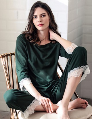 Enchanting Boat Neck Army Green Modal Knot Pajama Set Lace Fashion Online
