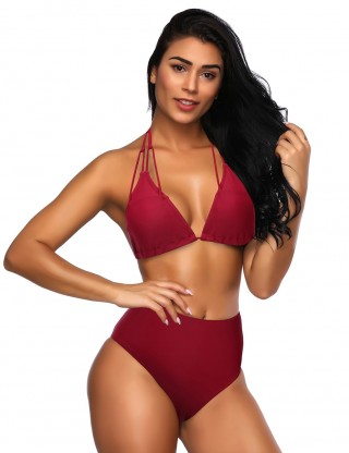 Slinky Wine Red V Neck Open Back High Cut Bikini Knot Fashion Essential