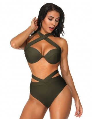 Fresh Dark Green High Waist Criss Cross Swimsuit Two Pieces Summer Beach Time